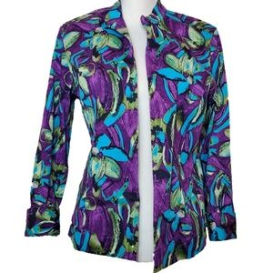 Chico's Additions Floral Open Front Blazer